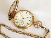 Antique Waltham Traveler Half Hunter Pocket Watch & Chain (3 of 6)