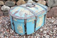 Scandinavian / Swedish 'Folk Art' Travel chest in blue paint and ironwork, 18th Century (11 of 37)
