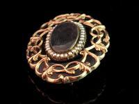 Antique Victorian Mourning Brooch, 9ct Gold Black Enamel (5 of 10)