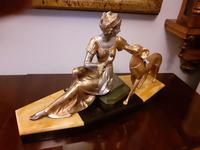 French Art Deco Sculpture Statue Lady with Greyhound (2 of 7)