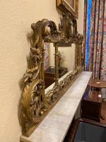 Late 19th Century Ornately Carved Giltwood 3-Section Overmantel Mirror (2 of 6)