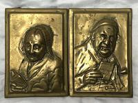 Pair Architectural Scottish Victorian Gilt Bronze Pipe Smoker Gentleman & Lady Wall Plaques (14 of 20)