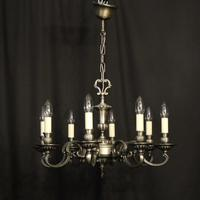 French Brass Silver Plated 8 Light Chandelier (9 of 10)