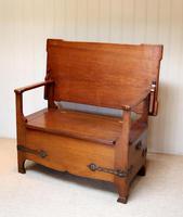Arts & Crafts Solid Oak Monks Bench (8 of 12)