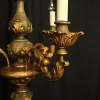 Florentine Gilded Triple Light Polychrome Chandelier (8 of 10)