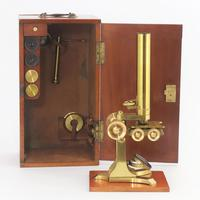 Mid 19th Century Cased Brass Bar-Limb Microscope with Magnifier c1850 (3 of 14)
