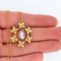Antique Moonstone & Ruby Floral Wreath 15ct 15k Yellow Gold Pendant & Chain Necklace (7 of 7)