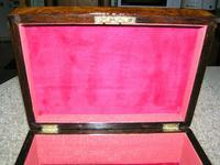 Antique Victorian Walnut Jewellery / Trinket Box, Mop, working lock & key (2 of 9)