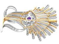 1.01ct Amethyst and 1.69ct Diamond, Platinum and 14ct Yellow Gold Brooch - Art Deco - Vintage Circa 1940 (5 of 9)