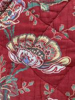 Antique French cotton double quilt eiderdown with red floral pattern (6 of 10)