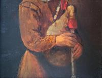 Original 18th Century Miniature Oil on Panel Portrait Painting of Bagpipe Player (6 of 11)