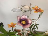 Vintage French 5 Arm Floral Toleware Chandelier (11 of 11)