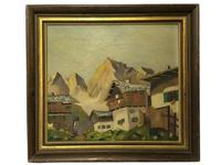 20th Century Original Art Impressionism Oil Painting Swiss Chalets Mountains