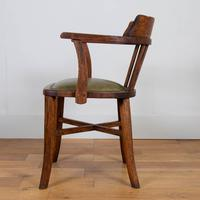 Vintage 1930s Oak Office Chair With Fresh Leather Seat x 2 (7 of 11)