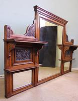 Antique Large Victorian Oak Overmantle Wall Mirror (8 of 9)