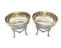 Pair of Antique Edwardian Sterling Silver Bowls / Dishes on Stands 1901 (7 of 9)