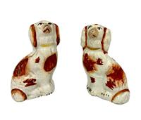 Antique Pair of Miniature Staffordshire Pottery Dogs c.1830 (2 of 5)
