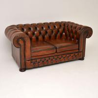 Antique Victorian Style Leather 2 Seat Chesterfield Sofa