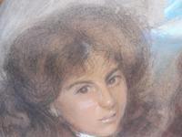 Large Pastel Portrait Two Girls Monogrammed TC 1910 (5 of 10)