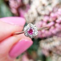 Dainty Art Deco 18ct Gold Synthetic Pink Sapphire & Diamond Flower Ring