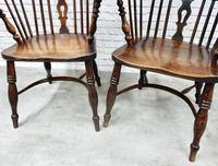 Pair of Named Windsor Lowback Armchairs, F Walker of Rockley (6 of 8)