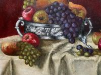 Fabulous 1960 Vintage Antique Still Life Of Fruit Study Oil On Canvas Painting (7 of 12)