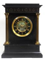 Antique French Slate Mantel Clock 8-Day Square Bracket Striking Mantle Clock with Gilt Decoration (8 of 11)