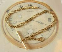 Antique Pocket Watch Chain 1890s Victorian Brass Figaro Link Albert With T Bar (2 of 11)