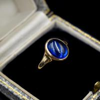 Vintage Cabochon Blue Paste 9ct 9K Yellow Gold Signet Ring (10 of 10)