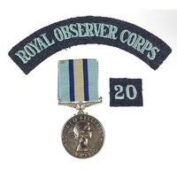 British military Elizabeth II Royal Observer Corps medal with cloth patches awarded to Observer G B H George