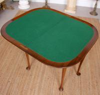 Writing Card Table Burl Walnut Circular Folding Desk (5 of 12)