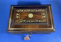 Regency Rosewood Table Box with Brass Foliate Inlay (10 of 12)