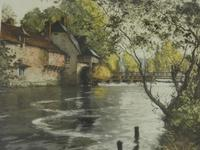 Paul Emile Lecomte - French Rural Weir Pool - Etching Signed (2 of 3)