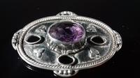 Antique Arts & Crafts Hammered Silver Amethyst Large Brooch (9 of 12)