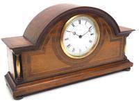 Fine Edwardian Mahogany Arched Clock Multi Wood Inlay Timepiece Mantel Clock (3 of 9)