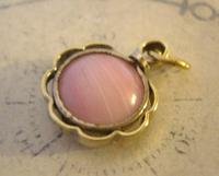 Antique Pocket Watch Chain Fob 1890s Victorian Gilt & Pink Stone Dainty Fob (5 of 7)