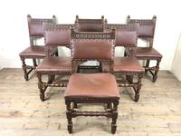 Set of Six Oak and Leather Chairs