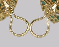 Vintage Julius Cohen Cluster Earrings Turquoise & Diamond 1960s Flower Earrings (9 of 12)