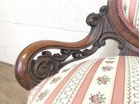 Small Victorian Walnut Frame Salon Sofa Settee (5 of 9)