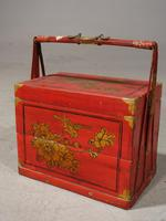 Attractive Early 20th Century Red Lacquer Picnic Basket (3 of 5)