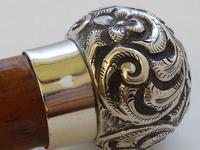 Victorian Gadget Walking Stick 1896 Silver Pommel Bamboo Shaft Hidden Bottle (8 of 12)