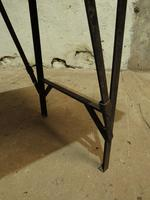 Industrial Vintage Folding Trestle Dining Table with Metal Legs & Reclaimed Top (10 of 17)