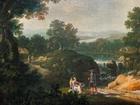 Exceptional Large 1700s Old Master Giltwood Landscape Oil on Canvas Painting (10 of 17)