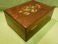 Beautifully Inlaid Rosewood Jewellery Box. Unusual Interior c.1865 (7 of 14)