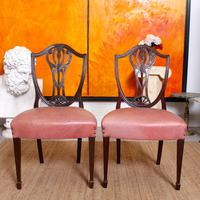 6 Dining Chairs Hepplewhite Mahogany Leather 19th Century (10 of 15)