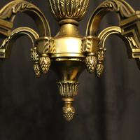 French 5 Light Gilded Brass Antique Chandelier (3 of 10)