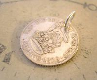 Antique Pocket Watch Chain Fob 1928 Lucky Silver One Shilling Old 5d Coin Fob (3 of 7)