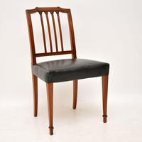 Set of 4 Antique Mahogany & Leather Dining Chairs (2 of 11)