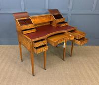 Inlaid Satinwood Carlton House Desk by Jas Shoolbred (5 of 25)