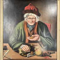 Antique Georgian Oil Painting Portrait Entitled The Miser by C Hind 1823 (3 of 10)